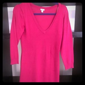 Hot pink fitted sweater dress- never worn